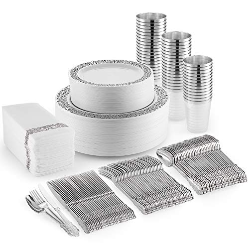 Silver Plastic Dinner Plates, Disposable Dessert Plates, 350 Plastic Dinnerware Set – Cups, Silver Silverware and…