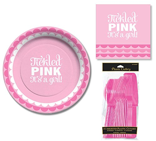 Tickled Pink It's A Girl! Baby Shower Party Set for 8 Guests by C.R. Gibson