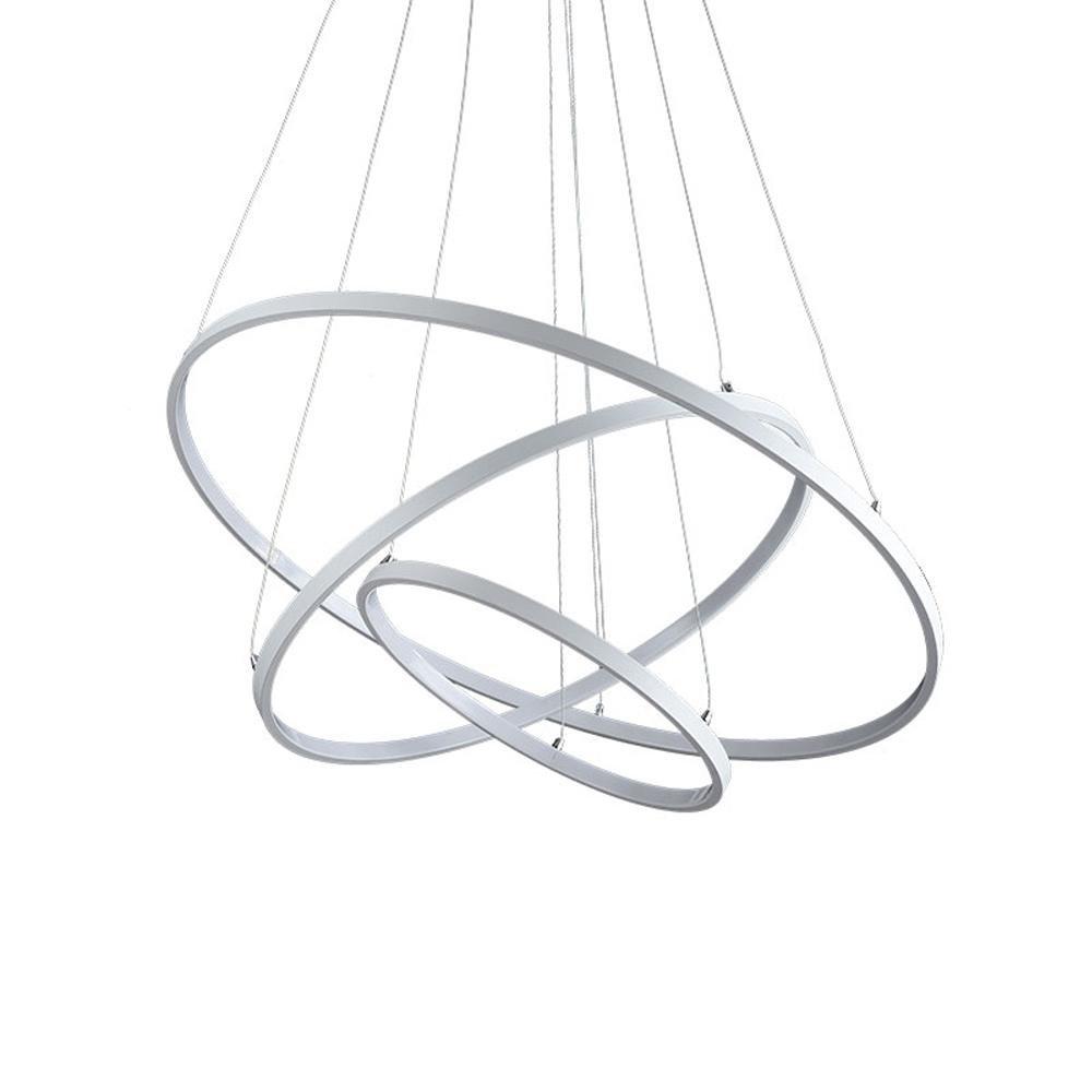 Henley LED Pendelleuchte Modern Beleuchtung Hängelampe Höhenverstellbar Lampe Design Drei Ring Deckenleuchte 75W Pendellampe für Wohnzimmer Küche Weiß Acryl Leuchte Esstisch Kronleuchte, Dimmbar
