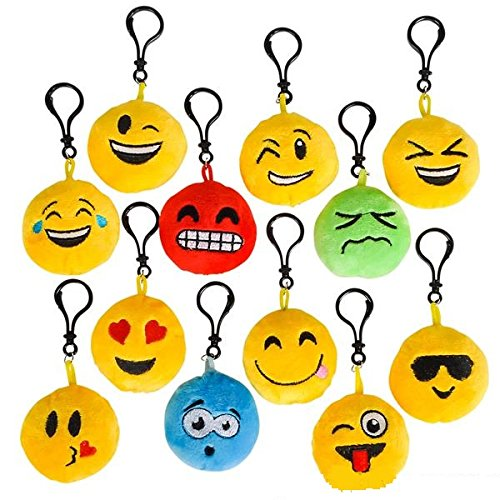 Plush Toy Emoji Keychain - 24 Pieces, in 12 Different Faces - Great Prize, Party Favor, for Boys and Girls - by Kidsco ()