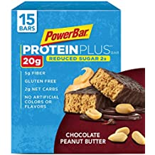 PowerBar Protein Plus Reduced Sugar Bar, Chocolate Peanut Butter, 2.12 oz Bar, (15 Count)