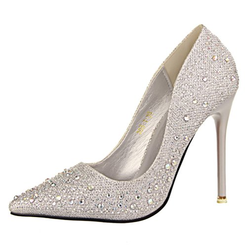 HooH Pumps Diamonds Women's Silver Sexy Pointed Toe Wedding Bling 1vP14rwq0x