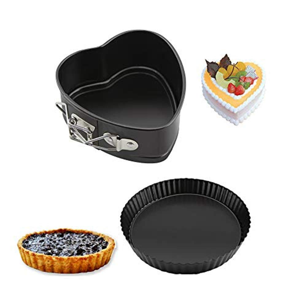 Cake Pans 4 inch Love Heart Shape Non-Stick Baking Trays Set Carbon Steel Cake Pan 8 inch Round Cake Baking Pans Kitchen Tools Cake Baking Tray with Removable Bottom Base Tray for Oven