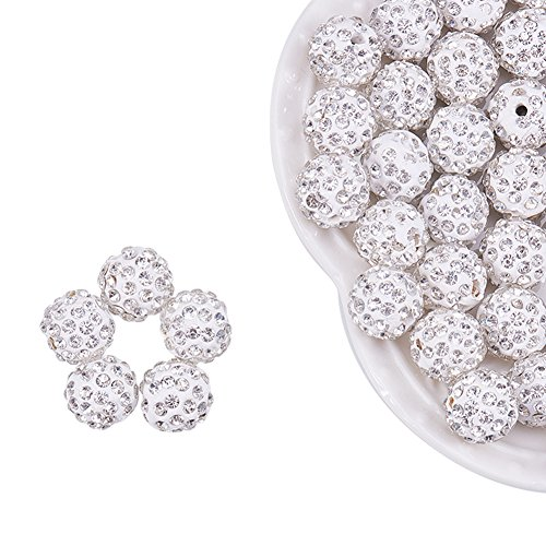 12mm Round Cut Gem - NBEADS 100pcs 12mm Polymer Clay Clear Gemstones Cubic Zirconia CZ Stones Pave Micro Setting Disco Ball Spacer Beads, Round Bracelet Connector Charms Beads for Jewelry Making