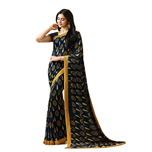 Mohit Creations Women's Partywear Printed Saree with Unstitched Blouse ()