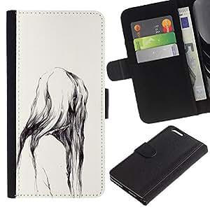 Ape naturaleza de la acuarela Dientes- la tarjeta de Crédito Slots PU Funda de cuero Monedero caso cubierta de piel Para Apple (5.5 inches!!!) iPhone 6+ Plus / 6S+ Plus