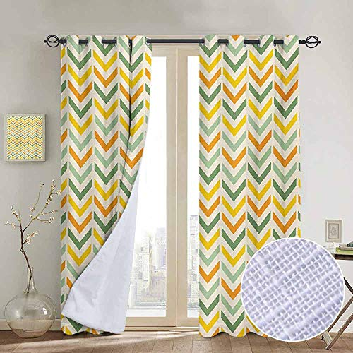 NUOMANAN Customized Curtains Chevron,Retro Countryside Colors Zigzags in Vertical Direction Striped Composition,Green Yellow Orange,Blackout Thermal Insulated,Grommet Curtain Panel 1 Pair120 x96
