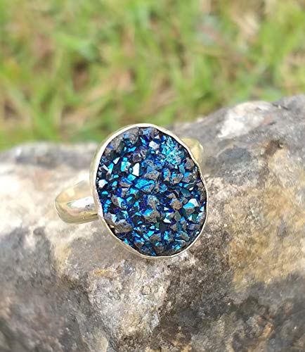 Blue Druzy Ring, 925 Silver Ring, Valentine's Day Jewelry, Artisan Design Ring, Special Event Ring, Friendship & Love Jewelry, Blue Agate Druzy Ring, Cocktail Ring, Fashion Trending Ring,