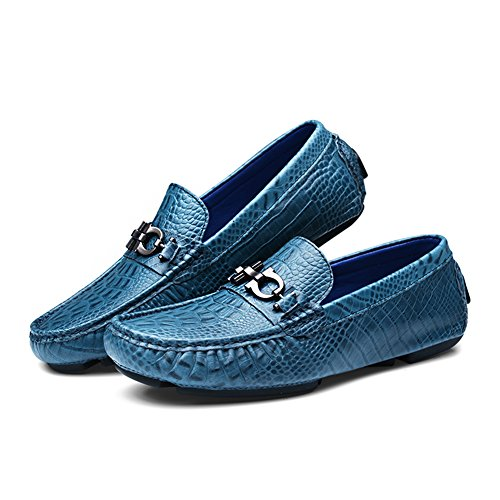 Slip Driving Grain Flat Leather Casual Luxury Car Mens Full Loafers Shenn Blue On Shoes 8Ywgx