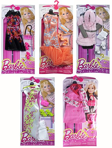 [Barbie Complete Look Fashion Clothing Sets, Includes Black Floral Dress, Pink Jacket, White Designed Dress, Orange Designed Dress, Pink Fur] (Pink Lady Costume Images)