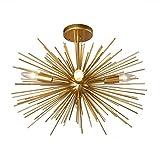 20 Inch Astra Sputnik Semi Flush Mount Lamp Gold Spike Starburst Light Mid Century