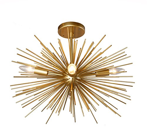 20 Inch Astra Sputnik Semi Flush Mount Lamp Gold Spike Starburst Light Mid Century