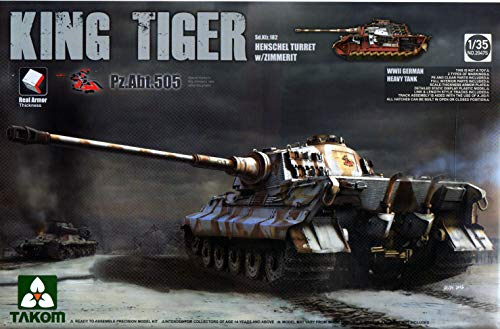 (TAK02047S 1:35 Takom King Tiger Sd.Kfz.182 Henschel Turret Zimmerit Pz.ABT.505 Special Edition [Model Building KIT])