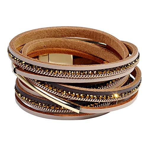 (Leather Cuff Bracelet for Women - Boho Beads Wrap Clasp Bangle Bracelet Leather Wristbands Birthday Gifts for Women(Dark Brown with Gold bar) )