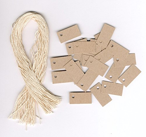 """100 Blank Mini TINY KRAFT Hang Tags (1/2""""x1"""") & 100 Cut Strings for Crafts & Gifts. Personalize & Price your merchandise."""