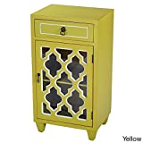 Heather Ann Creations Standing Single Drawer Distressed Storage Cabinet, 30″ x 18″, Yellow For Sale