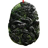 SHZONS Chinese Dragon Jade Necklace Pendant Handmade Jade Desktop Ornaments for Study Office Crafts Good Luck Amulet