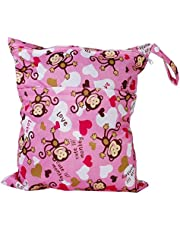Baby Products 2-Zip Washable Baby Cloth Diaper Nappy Bag Monkey Heart Pink Creative and Exquisite Workmanship Convenient and clever