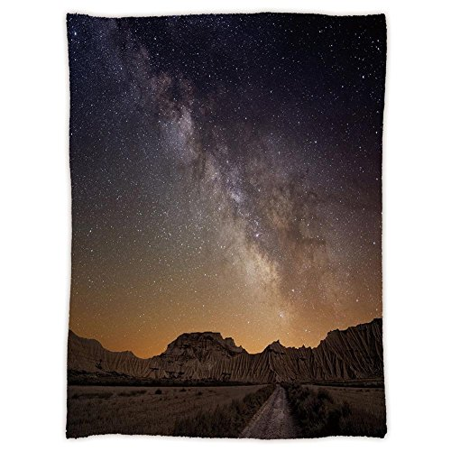 Super Soft Throw Blanket Custom Design Cozy Fleece Blanket,Night,Milky Way over Desert of Bardenas Spain Ethereal View Hills Arid Country Decorative,Plum Apricot Chocolate,Perfect for Couch Sofa or Be by iPrint