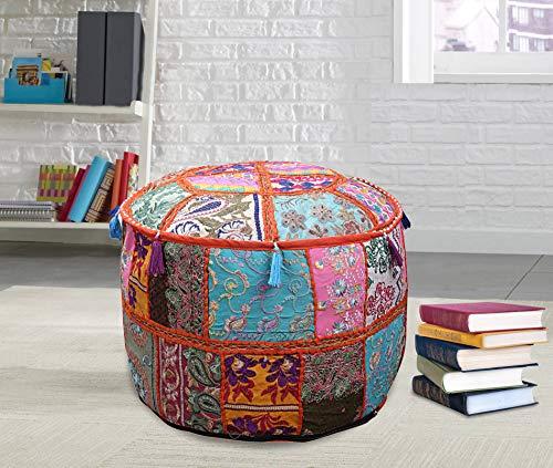 Janki Creation Ottoman Pouf Stool Round Seating Pouf Cover Ottoman Furniture Storage Ottoman Living Room Ottoman Foot Stool Decor Ottoman Patchwork Cover