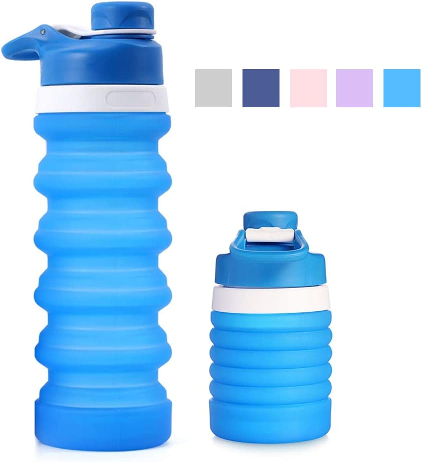 Lixada Collapsible Water Bottle Food-Grade Silicone FDA Approved Leak Proof Travel Climbing Biking Foldable Soft Sports Water Bottle