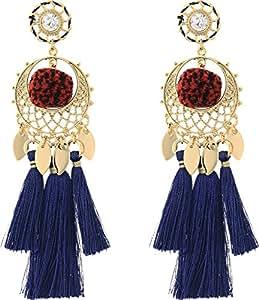 Rebecca Minkoff Women's Tassel and Pom Drama Chandelier Earrings Gold/Navy Multi One Size