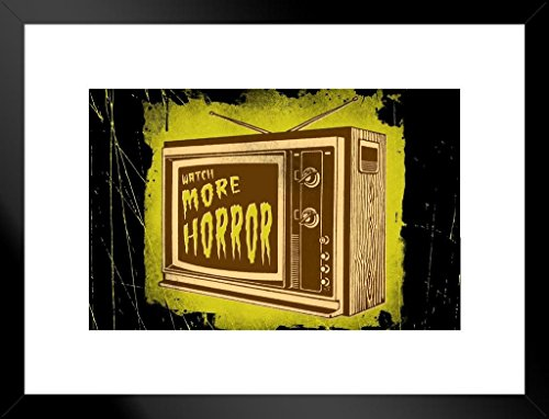 Poster Foundry Watch More Horror Retro TV Matted Framed Wall Art Print 20x26 inch -