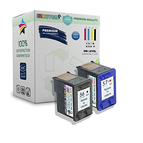 INKUTEN Remanufactured Ink Cartridge Replacement For Hewlett Packard HP 56 & HP 57 C9321BN C6656AN C6657AN (1 Black, 1 Tri-Color) 2 Pack Compatible