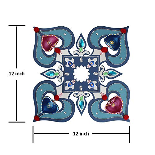 Decorative Floor Rangoli Design Paisley Motifs & Studded Stones with Set of 4 Clay Diyas Hand Painted in Blue and Pink The Purpose of Rangoli is Decoration and to Bring ()