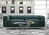 Cheap Iconic Home FSA2656-AN Modern Contemporary Tufted Velvet Down-Mix Cushions Acrylic Leg Sofa, Green