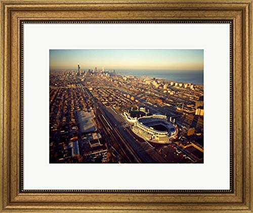 Old Comiskey Park, Illinois by Panoramic Images Framed Art Print Wall Picture, Wide Gold Frame, 22 x 18 - Comiskey Framed Photo Park
