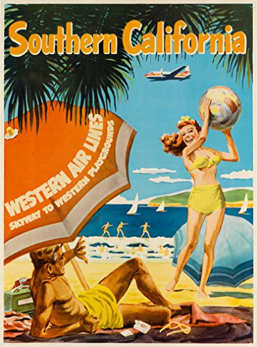 Western Airlines (Southern California Western Air Lines Vintage Airline United States U.S. Advertisement Travel Poster. Poster measures 10 x 13.5)