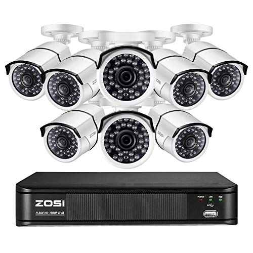 ZOSI 1080P Video Surveillance Home Security Camera System, 8 Channel CCTV DVR Recorder with 8 x 1080p Bullet Camera Outdoor Indoor, Long Night Vision, Remote Accsee, Motion Detection (No HDD)