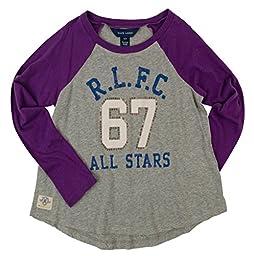 Ralph Lauren Childrenswear Girls\' 7-16\' Long Sleeve Graphic Raglan Cotton Tee-G-S(7)