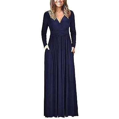 4794304b2905c Sexy Col V Robe Longue Soirée Femme,Overdose Automne Hiver Loose Robes  Manches Longues Soldes Maxi Dress