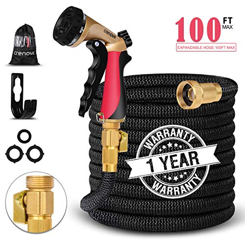 Crenova 100ft Garden Hose Upgraded Expandable Hose with Three Latex Core, 3/4 Solid Brass Connector,Brass Valve, Expanding Water Hose with 7 Function Metal Spray Nozzle