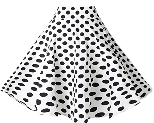 BI.TENCON Women's 1950s Vintage High Waisted White and Black Polka Dot Flared Circle Skirt L