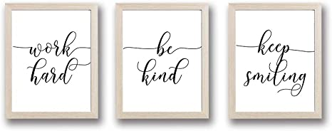 Amazon Com Hpniub Framed Inspirational Quotes Art Print Set Of 3 10 X8 Ready To Hang Minimalist Typography Wall Saying Poster Black And White Modern Canvas Artwork For Bedroom Home Decor Home Kitchen