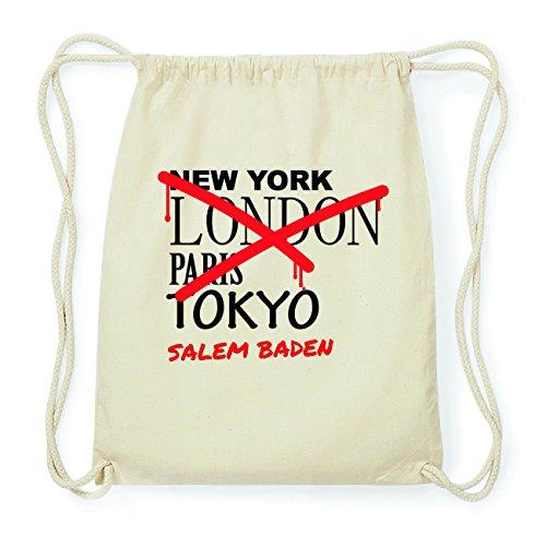 JOllify SALEM BADEN Hipster Turnbeutel Tasche Rucksack aus Baumwolle - Farbe: natur Design: Grafitti
