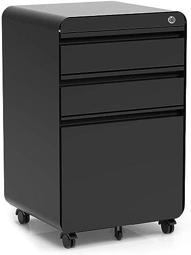 3-Drawer Filling Cabinet, Metal Vertical File Cabinet with Hanging File Frame for Legal Letter File Install-Free Anti-tilt Design and Lockable System Office Rolling File Cabinet Black