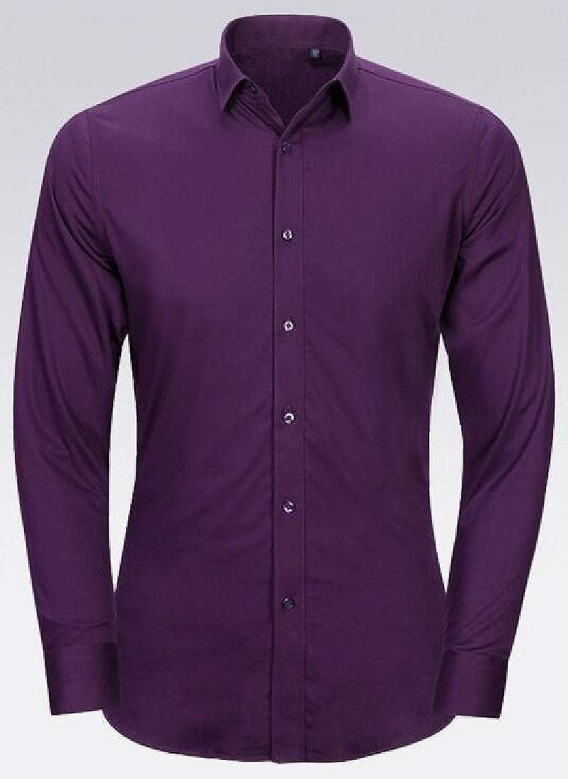 WSPLYSPJY Mens Classic Fit Long Sleeve Button Collar Cotton Casual Dress Shirt