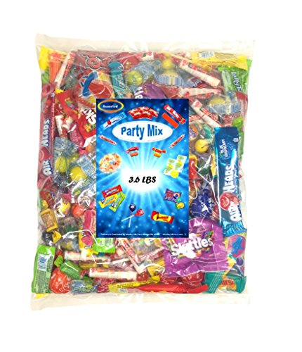 Assorted Candy Variety Mix 3.6 Lbs - Huge Party Mix Bulk Bag of: Smarties, Lemonheads, jawbreakers, Laffy Taffy and Much - Santa Miniature Jolly Old