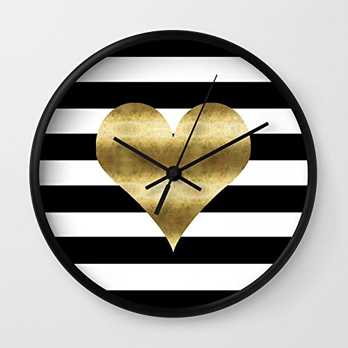 Society6 Gold Heart Black And White Stripe Wall Clock Black Frame, Black Hands (Gold Clock White White)