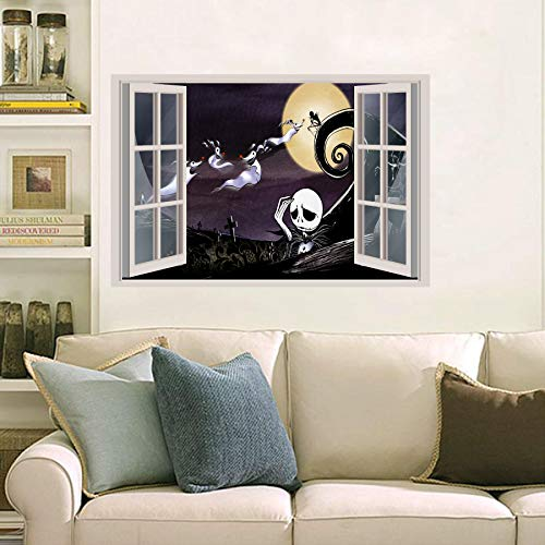 nightmare before Christmas 3D Window View Decal Graphic WALL STICKER Art Mural 18