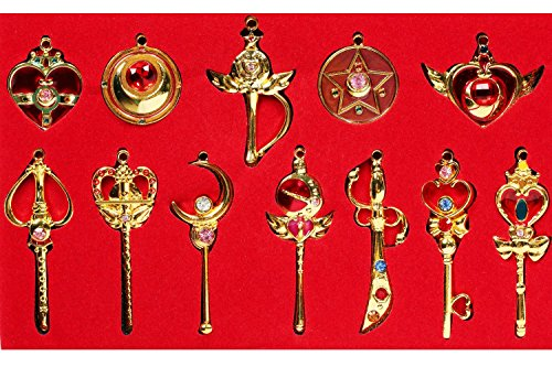 XCOSER Exquisite Pretty Guardian Keychain Necklace Set for Kids Gifts 12pcs Golden (Mini Moon Child Costume)