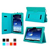 Mulbess - ASUS MeMO Pad FHD 10 ME302C Basic Case Cover - Flip Stand Leather Case Cover with Elastic Hand Strap and Pen for ASUS MeMO Pad FHD 10 ME302C Color Blue