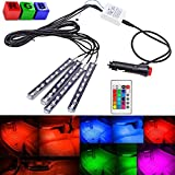 YueYueZou® 4X 12cm Multi-color 7 Color Car Interior Neon Light 9 LED Underdash Lighting Kit