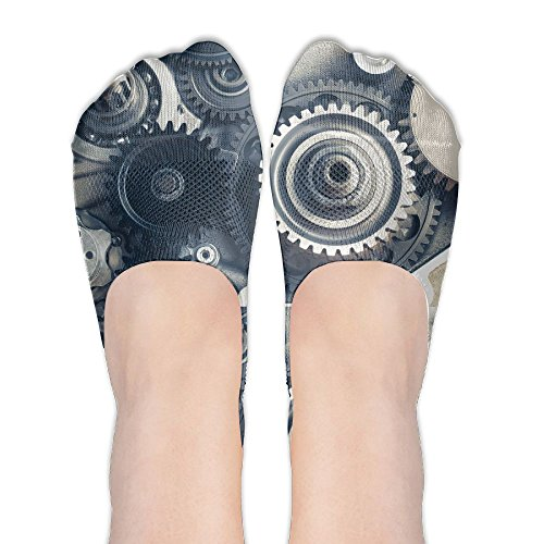Clock Watch Time Gear Cartoon Womens Athletic Compression Low Cut Short Thin Loafers Non Slip Boat Socks For Yoga Train Hiking Cycling Running Sports - Running Gear Malaysia