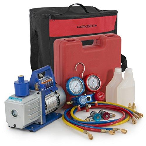 ARKSEN 1/2HP Vacuum Pump R134a Manifold Gauge Diagnostic Refrigerant w/Carrying Tote Combo Set