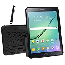 Galaxy Tab S2 9.7 Case, Tab S2 9.7 Case, Asstar Shockproof Heavy Duty Rugged Hybrid Kickstand Protective Case for Samsung Galaxy Tab S2 9.7 inch Tablet with 1x Stylus Pen for Free (Black)